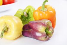 Free Purple, Yellow, Orange & Green Baby Bell Peppers Stock Images - 15225894