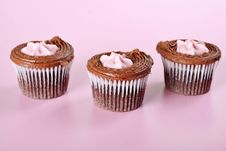 Free Raspberry Cupcakes On Pink Stock Images - 15225954