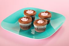 Chocolate Cupcakes On Pink Background Royalty Free Stock Image