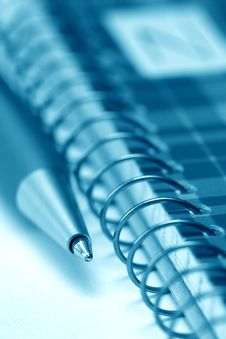 Close Up Of Notepad And Pen (vertical Shot, Blue) Stock Image