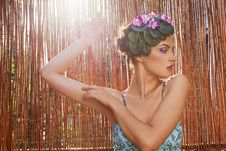 Free Beautiful Girl With A Wreath Of Flowers Royalty Free Stock Images - 15228439