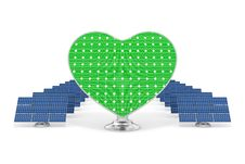 Free Solar Panels Green Heart 2 Royalty Free Stock Image - 15229306