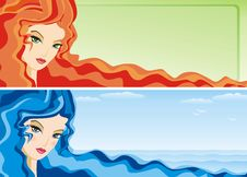Free Banner With Girl S Face Royalty Free Stock Photo - 15229685