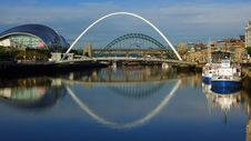 Free Newcastle Upon Tyne Quayside Panorama, On A Reflective Sunny Morning Stock Photos - 152298483