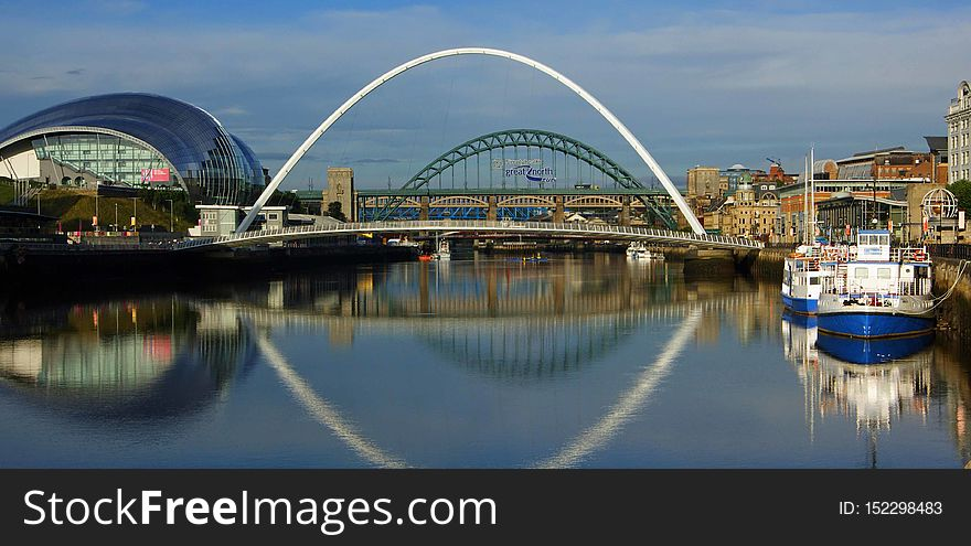 Newcastle upon Tyne Quayside panorama, on a reflective sunny morning
