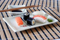 Free Sushi, Soy Sauce And Wasabi On The Table-cloth Royalty Free Stock Images - 15236839