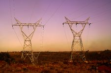 Free Sunset Landscape With Electrical Pylons Stock Images - 15230194