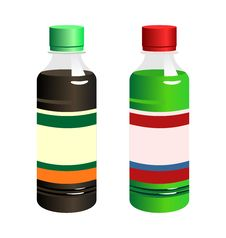 Free Illustration Set Of Two Bottle With Label Stock Photo - 15232000