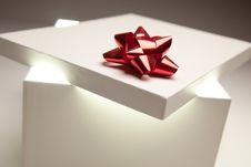 Free Red Bow Gift Box Lid Showing Very Bright Contents Royalty Free Stock Images - 15232639