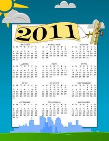 Free Vector 2011 Calendar Biplane In The Sky Royalty Free Stock Photos - 15233018
