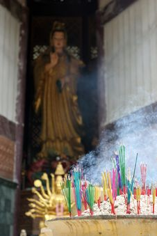 Free Burning Incense For Guan Yin Royalty Free Stock Photo - 15233565