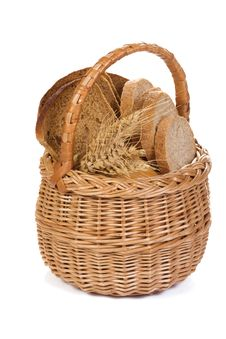 Free Full Basket With Bread Royalty Free Stock Image - 15233836