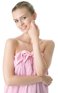 Young Beauty Woman In Towel Stock Photo