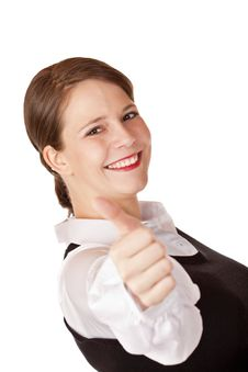 Free Young Attractive Businesswoman Shows Thumb Up Royalty Free Stock Photo - 15234115