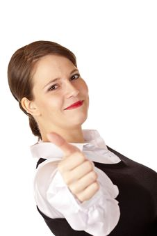 Free Casual Young Businesswoman Shows Thumb Up Stock Image - 15234121