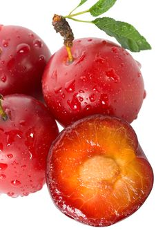 Free Wet Ripe Plums Royalty Free Stock Photo - 15234145