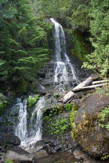 Waterfall At Mount Rainier National Park Stock Photo