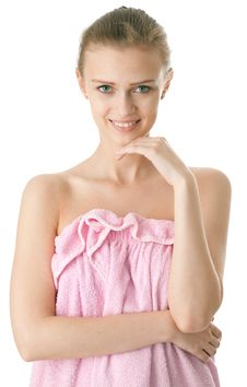 Young Beauty Woman In Towel Stock Image