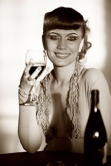 Free Cheerful Girl With Wineglass Royalty Free Stock Photography - 15235297