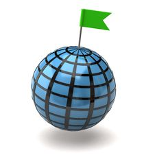 Free Blue Globe And Flag Pin Royalty Free Stock Photos - 15235298