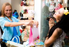Free Cheerful Girls Are Shopping Stock Image - 15235311