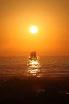 African Sunset Boat Stock Photography