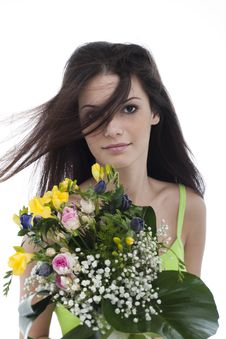 Beauty With A Bunch Of Flowers Stock Photo