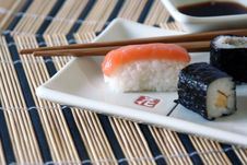 Sushi On The Table-cloth, Detail Stock Photography