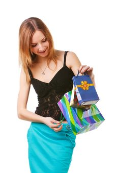 Free Beautiful Young Lady With Gifts Royalty Free Stock Image - 15236896