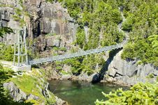Free Suspension Bridge At La Manche Provincial Park Stock Image - 15238701