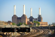 Railway And Power Station Stock Image