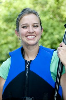 Free Outdoorsy Female Wearing A Life Jacket Royalty Free Stock Photos - 15239278