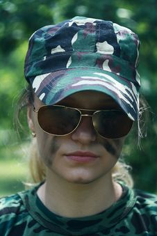 Girl In Military Form Stock Photography