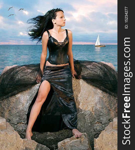Beauty woman on sea