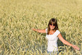 Free Happy Woman In Corn Field Enjoy Sunset Royalty Free Stock Photography - 15247637