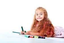 Free Drawing Girl Royalty Free Stock Photography - 15240677