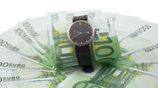 Free Watch And 100 Euros Isolated On A White. Royalty Free Stock Photos - 15241318