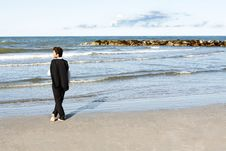 Free Young Businessman Looking At Sea In Contemplation Stock Photo - 15241490