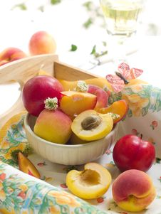 Fresh Apricots And Plums Stock Images