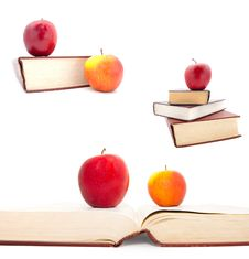 Set Of The Thick Books And Apples Royalty Free Stock Photo
