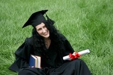 Happy Bachelor With Diploma Stock Photography