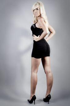 Free Blond Wearing A Black Dress Royalty Free Stock Photo - 15244045