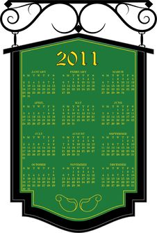 Free 2011 Vector Calendar Green Sign Stock Images - 15246964