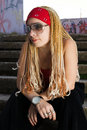 Free Rapper Girl Posing At Sprayed Wall Stock Images - 15252434