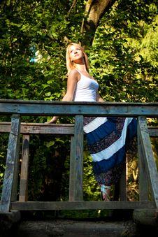 Girl On The Bridge Royalty Free Stock Photography
