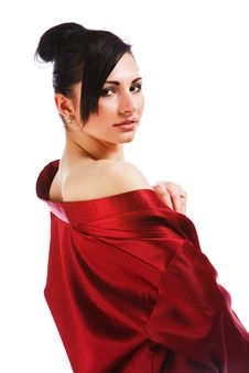 Free Charming Young Woman In Red Gown Royalty Free Stock Images - 15251679