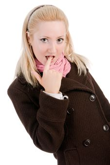 Free Shy Blond Young Girl In Coat Royalty Free Stock Image - 15251696