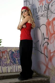Hip-hop Styled Girl In Red Posing Stock Image