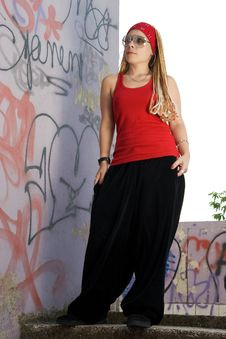 Rap-styled Teen Girl Posing Outdoors Stock Image