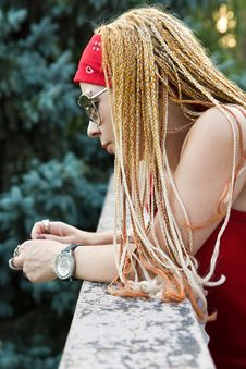 Teenage Rapper Girl Outdoors Stock Photo